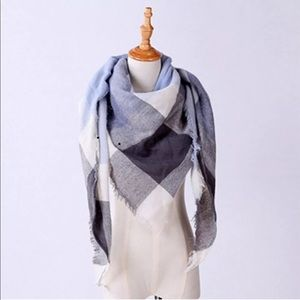 Accessories - Blanket scarf gray navy light blue paid check soft